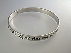 James Avery San Antonio Texas Bangle Bracelet 'This is the Day The Lord Has made Let us Rejoice and be Glad in it'. The Bracelet has 2 3/8 inches inner Diameter. (Small to Med Size wrist)