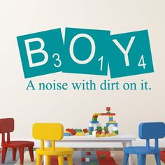 Boy A Noise With Dirt Custom Color Wall Decal - Wall Sticker, Mural, & Decal Designs at Wall Sticker Outlet Wall Decor Lights, Kids Wall Decor, Nursery Wall Decals, Wall Murals, Wallpaper Decor, Peel And Stick Wallpaper, Wall Colors, Wall Stickers, Hand Painted