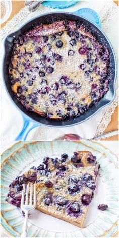 Blueberry Dutch Baby Pancake - Never be a slave to flipping pancakes again! Make one big one & bake it instead! So easy & just packed with juicy blueberries!