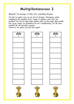 Det här spelet kan man antingen spela med en grupp av elever eller med 2-3 elever. Multiplikationsrace 2(word) Multiplikationsrace 2(PDF) Alternativ 1 Alla elever har vars en laminerad spelplansb... Math Multiplication, Maths, Future Jobs, Math Games, Primary School, Math Lessons, Good To Know, Division, Teacher