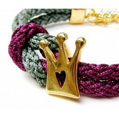 Green- Purple Satin Rope Crown Bracelet #rope bracelet