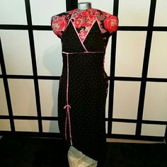 Polka-dot Cocktail Dress Black and pink polka-dot dress, backless. Rampage Dresses Backless