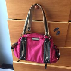 Hot pink Franco Sarto shoulder bag It's super cute just too small for me. The stain on the front is the only blemish on the bag. Perfect condition otherwise. Franco Sarto Bags Shoulder Bags