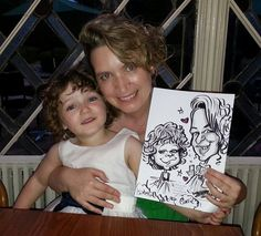 Black and White, on the spot, pen and ink caricature
