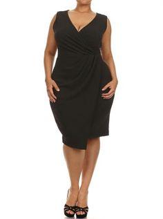Plus Size Dashing Pleats Surplice Black Dress, Plus Size Clothing, Club Wear, Dresses, Tops, Sexy Trendy Plus Size Women Clothes