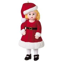 2021 Madame Alexander Jolly and Joyful Wendy Hallmark Christmas Ornament - Hooked on Hallmark Ornaments Plastic Christmas Tree, Hallmark Christmas Ornaments, Christmas Girls, Ornament Hooks, Madame Alexander Dolls, Santa Hat, Easy Gifts, Joyful, Merry