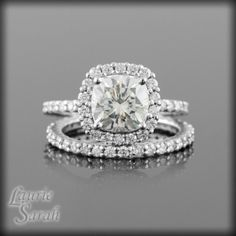Moissanite and Diamond Engagement Ring with Matching Diamond Wedding Band - Diamond Alternative - LS1872