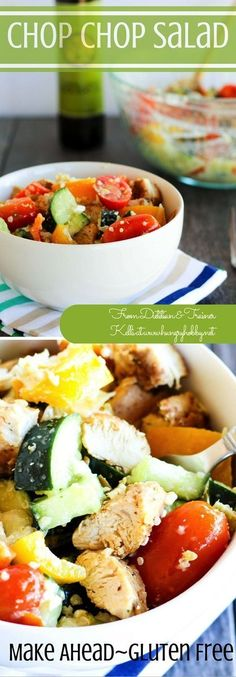 Chop Chop Mediterranean Salad can be easily made ahead 3-4 days with no wilting!   #glutenfree