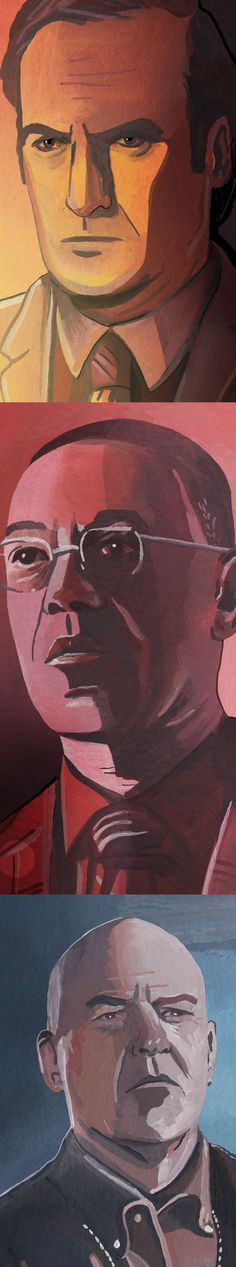 Breaking Bad Portraits of Saul Goodman, Gus Fring and Hank Schrader, made with gouache and watercolour.