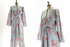 40s Blue Floral Retro Noir Sleepwear Robe