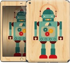 Blue Robot skin for iPad by Petit Collage | Nuvango