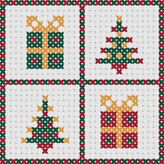 Punto De Cruz Cross Stitch Christmas cards: FOUR quick Christmas designs Cross Stitch Christmas Cards, Xmas Cross Stitch, Cross Stitching, Cross Stitch Embroidery, Embroidery Patterns, Hand Embroidery, Cross Stitch Designs, Cross Stitch Patterns, Loom Patterns
