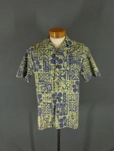 3cd3934118 Vintage Hilo Hattie Green  amp  Blue Cotton Tribal Print Hawaiian Aloha  Shirt 42  HiloHattie