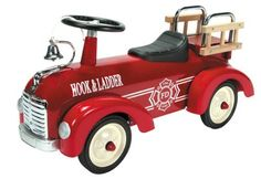 "Schylling Metal Speedster-Fire Truck by Schylling. $103.75. Ride on toy for toddlers. Weight limit 42 pounds. Vibrant red steel body, real wood ladders, and chrome accents. Features horn, rubber tires, working steering column, plastic fenders and more. Measures 29.50"" long. From the Manufacturer                This Fire truck ride on toy is hot. It has a vibrant red colored steel body, with white graphics, black seat and steering wheel, chrome accents and real wood ladders. O..."
