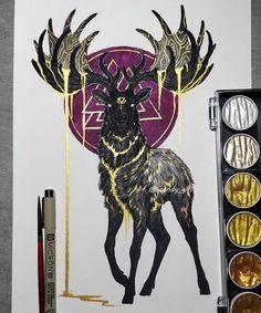 Mythology and Fantasy in Animal Paintings Animal Paintings, Animal Drawings, Art Drawings, Art And Illustration, Fantasy Kunst, Fantasy Art, Tattoo Oriental, Cool Art Projects, Viking Art