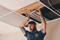 Philadelphia Woodcraft Co. of Fishtown originates the use of Reclaimed Lath as an alternative to drop ceiling tiles. Joe Malseed of Philadelphia Woodcraft Co. also uses reclaimed oak wood he salvaged from old factory to create a communal table that was serve as an office desk.