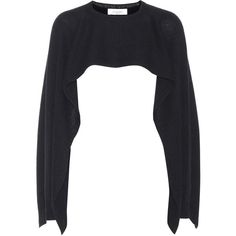 Valentino Cropped Cashmere Cape (€1.010) ❤ liked on Polyvore featuring outerwear, black, cape coat and cashmere capes