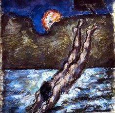 Woman Diving into Water - Paul Cezanne