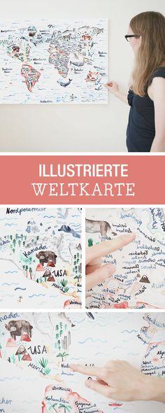 Illustration: Bunte Weltkarte für kleine Reiselustige / world map in colourful design for small globetrotters by gretasschwester via DaWanda.com
