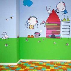 pared dibujo niños
