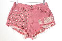 Pink high waisted shorts by WildChildCC on Etsy Studded Shorts, Ripped Shorts, High Waisted Shorts, Jean Shorts, Waisted Denim, Ripped Denim, Diy Shorts, Cute Shorts, Short Jeans Feminina