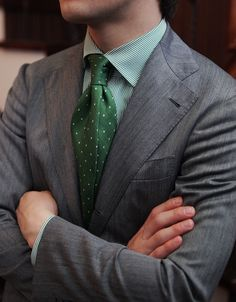 Errico Formicola Green tie with polka dots