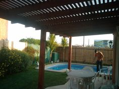 PERGOLAS Y QUINCHOS Outdoor Kitchen Grill, Blessed Mother, Patio Design, Backyard Patio, Bbq, Cases, Outdoor Structures, Ideas, Gardens
