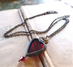 Sacred Heart Stained Glass Necklace by ParrishRelics on Etsy Glass Necklace, Arrow Necklace, Heart Frame, Sacred Heart, Gypsy Soul, Shades Of Red, Jewel Tones, Antique Silver, Stained Glass