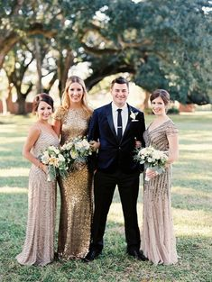 MoH could wear gold to avoid fears of black/blue clash Gold Bridesmaids, Mismatched Bridesmaid Dresses, Wedding Dresses, African Bridesmaid Dresses, Gold Beaded Dress, Beaded Dresses, Bridesmaid Inspiration, Wedding Inspiration, New Orleans Wedding