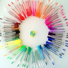 """Lucky Magazine's Eva Chen says, """"Basically the best present I've ever received in my life: every shade of @Sakura of America Gelly Pen. My heart is full of rainbow happiness..."""""""
