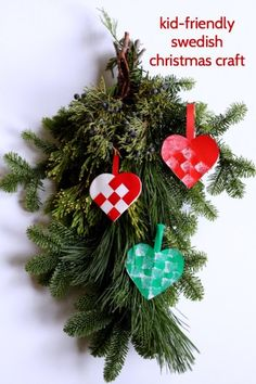 """An easy Swedish Christmas craft is a """"woven"""" paper heart."""