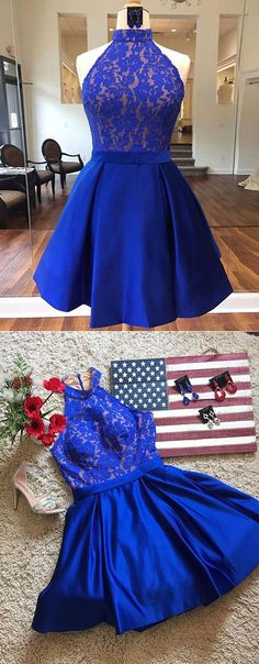 Vintage A-Line High Neck Short Royal Blue Satin Homecoming Dresses With Lace #halterdress#fashiondress#royalbluehomecomingdresses#homecomingdressesforteens