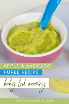 This apple and avocado puree recipe is a great first food for baby led weaning! With just 2 easy ingredients, the tasty baby food recipe is super easy, freezer friendly, and naturally sweet and creamy. If you are looking for easy, quick first foods for your 6 month old or older, try out this healthy, nutrient packed recipe that you can make in just a few minutes! #babyfoodrecipes #firstfoods #BLWrecipes #avocadopuree #babypuree Baby First Foods, Baby Finger Foods, Healthy Toddler Meals, Kids Meals, Pureed Food Recipes, Baby Food Recipes, Homemade Baby Snacks, Baby Dishes, Baby Puree