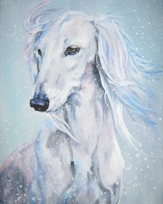 Saluki art print CANVAS print of LA Shepard by TheDogLover on Etsy