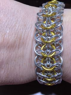 European interwoven 4 in 1 bracelet in bright silver and gold aa rings