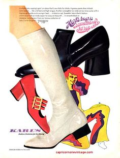 1969 karl's footwear ad | shiny shoes and go go boots | Flickr 1969 Fashion, Shiny Shoes, Footwear, Booty, Ankle, Swag, Shoe, Wall Plug, Shoes