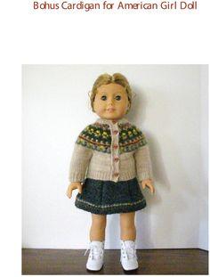 "Knitting Pattern for American Girl Doll 18"" doll Bohus cardigan jacket $6"