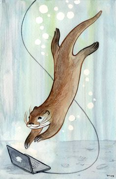 otter drawing - without the computer of course. i love how majestic this one looks...