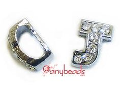 """Alphabet """"J"""" Slide Charm with Crystal Rhinestones. Create your own unique personalized name bracelet."""