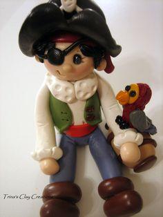 Jongen piraat, polymeerklei, piraat met Parrot, Cake-Topper, piraat taart Topper