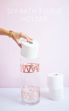 Turn a glass vase into a stylish @cottonelle toilet paper holder with copper foil tape!