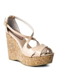 Love this Nude Ferrara Patent Leather Wedge Sandal by OBSESSION RULES on #zulily! #zulilyfinds