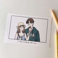 I like everything about you Cute Couple Drawings, Cute Couple Art, Anime Love Couple, Cute Drawings, Hipster Drawings, Pencil Drawings, Aesthetic Anime, Aesthetic Art, Arte Indie
