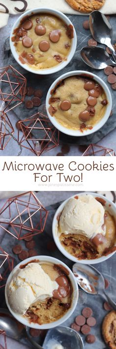 Easy Chocolate Chip Microwave Cookies for Two! Microwave Cookies, Microwave Recipes, Cooking Recipes, Sweet Recipes, Cake Recipes, Dessert Recipes, Yummy Things To Bake, Janes Patisserie, Dessert For Two