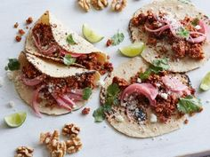 Get Nut Meat Tacos with Pickled Red Onions Recipe from Food Network