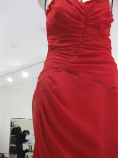 red ruching Sewing Class, Sewing Studio, Dress Stand, Class Projects, Formal Dresses, Red, Fashion, Dresses For Formal, Moda