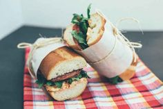 Salami sandwiches spread with sun-dried tomato cream cheese.