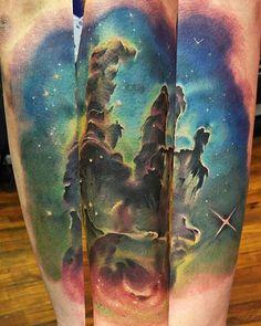"""Pillars of creation"" by Dusty Neal (@ dustyneal) Solar System Tattoo, Tattoo Designs, Tattoo Ideas, Skin Art, Cosmic, I Tattoo, Ink, Memories, Space"