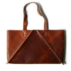 Caramel Brown Wide Leather Tote Bag by CrowSLC. outward seams.