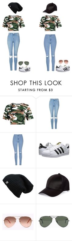Lisa and lena by molly-523-11-03 ❤ liked on Polyvore featuring Topshop, Glamorous, adidas Originals, River Island and Ray-Ban